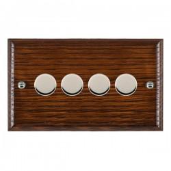 Hamilton Woods Ovolo Antique Mahogany 4 Gang 100W 2 Way LEDIT-B100 LED Dimmer with Bright Chrome Knobs