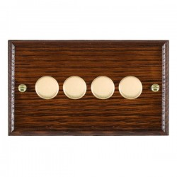 Hamilton Woods Ovolo Antique Mahogany 4 Gang 100W 2 Way LEDIT-B100 LED Dimmer with Polished Brass Knobs