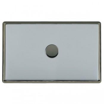 Hamilton Linea-Rondo CFX Black Nickel/Bright Steel Push On/Off Dimmer 1 Gang 2 way with Black Nickel Insert