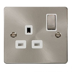 Click Define Brushed Steel Flat Plate Single Switched Socket with White Insert