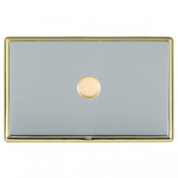 Hamilton Linea-Rondo CFX Polished Brass/Bright Steel Push On/Off Dimmer 1 Gang 2 way with Polished Brass Insert