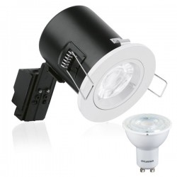 Enlite EFD Fixed White Downlight Kit with Sylvania 5W 3000K Dimmable GU10 LED Bulb