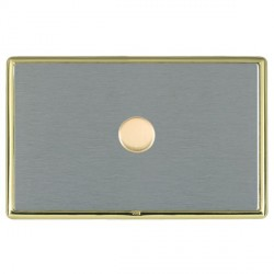 Hamilton Linea-Rondo CFX Polished Brass/Satin Steel Push On/Off Dimmer 1 Gang 2 way with Polished Brass I...