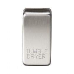 Knightsbridge Grid Brushed Chrome Module Rocker Switch Cover Marked 'TUMBLE DRYER'