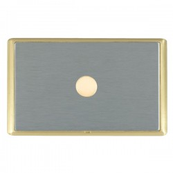 Hamilton Linea-Rondo CFX Satin Brass/Satin Steel Push On/Off Dimmer 1 Gang 2 way with Satin Brass Insert