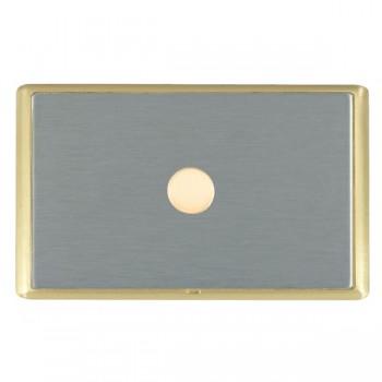 Hamilton Linea-Rondo CFX Satin Brass/Satin Steel Push On/Off Dimmer 1 Gang 2 way with Satin Brass Insert
