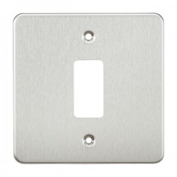 Knightsbridge Flat Plate Brushed Chrome 1 Gang Grid Faceplate