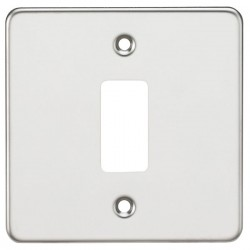 Knightsbridge Flat Plate Polished Chrome 1 Gang Grid Faceplate