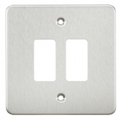 Knightsbridge Flat Plate Brushed Chrome 2 Gang Grid Faceplate