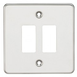 Knightsbridge Flat Plate Polished Chrome 2 Gang Grid Faceplate