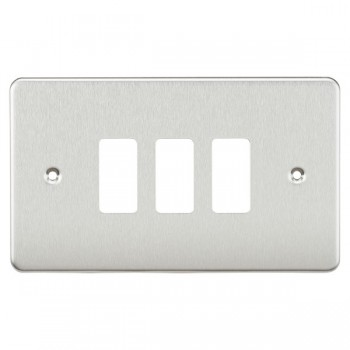 Knightsbridge Flat Plate Brushed Chrome 3 Gang Grid Faceplate