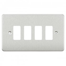 Knightsbridge Flat Plate Brushed Chrome 4 Gang Grid Faceplate