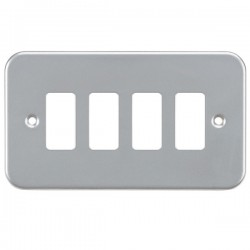Knightsbridge Metal Clad 4 Gang Grid Faceplate