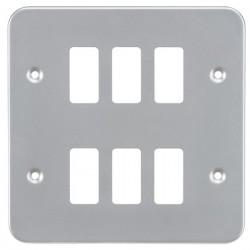 Knightsbridge Metal Clad 6 Gang Grid Faceplate