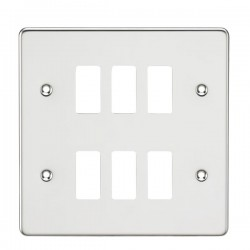 Knightsbridge Flat Plate Polished Chrome 6 Gang Grid Faceplate