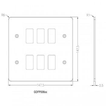 Knightsbridge Flat Plate Polished Chrome 6 Gang Grid Faceplate