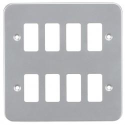 Knightsbridge Metal Clad 8 Gang Grid Faceplate