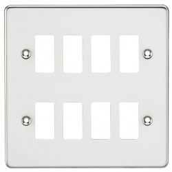 Knightsbridge Flat Plate Polished Chrome 8 Gang Grid Faceplate