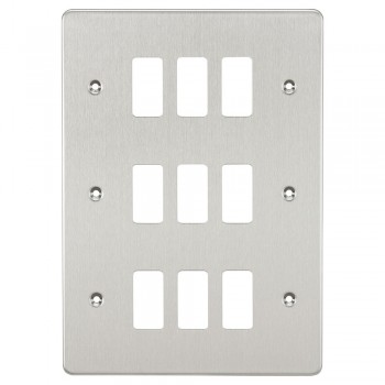 Knightsbridge Flat Plate Brushed Chrome 9 Gang Grid Faceplate