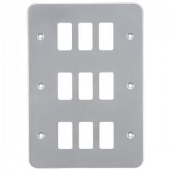 Knightsbridge Metal Clad 9 Gang Grid Faceplate