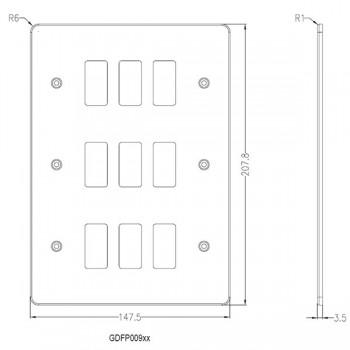 Knightsbridge Flat Plate Polished Chrome 9 Gang Grid Faceplate
