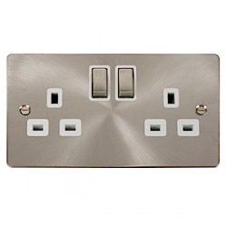 Click Define Brushed Steel Flat Plate Double Switched Socket with White Insert