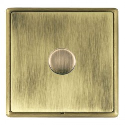 Hamilton Linea-Rondo CFX Antique Brass/Antique Brass Push On/Off Dimmer 1 Gang 2 way Inductive with Antiq...