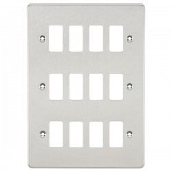 Knightsbridge Flat Plate Brushed Chrome 12 Gang Grid Faceplate