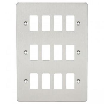 Knightsbridge Flat Plate Brushed Chrome 12 Gang Grid Faceplate