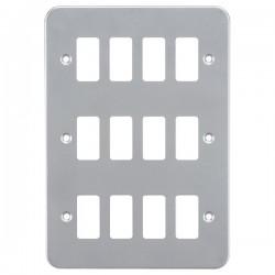 Knightsbridge Metal Clad 12 Gang Grid Faceplate