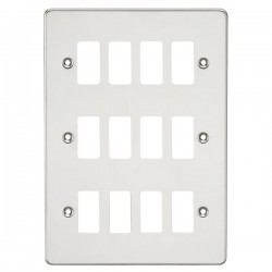 Knightsbridge Flat Plate Polished Chrome 12 Gang Grid Faceplate