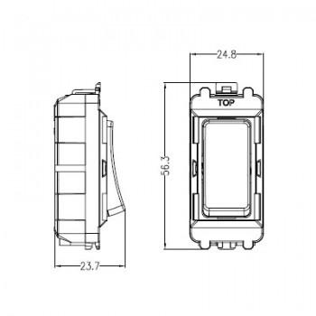 Knightsbridge Grid White Metal Clad 20AX Intermediate Switch Module