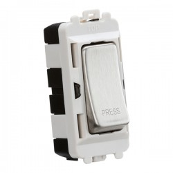 Knightsbridge Grid Brushed Chrome 20AX 2 Way Retractive Switch Module Marked 'PRESS'