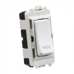Knightsbridge Grid Matt White 20AX 2 Way Retractive Switch Module Marked 'PRESS'