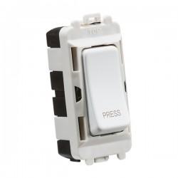 Knightsbridge Grid Matt White 20AX 2 Way Retractive Switch Module Marked 'PRESS'