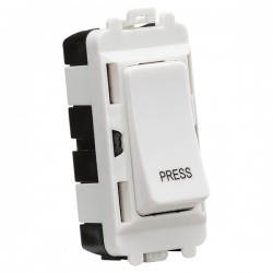 Knightsbridge Grid White Metal Clad 20AX 2 Way Retractive Switch Module Marked 'PRESS'