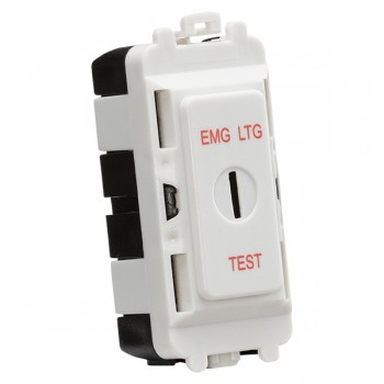 Knightsbridge Grid White Metal Clad 20AX 2 Way Keyswitch Module Marked 'EMG LTG TEST'