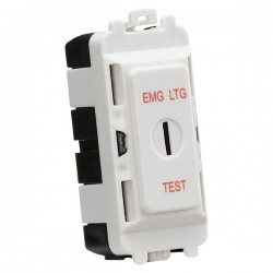 Knightsbridge Grid White Metal Clad 20AX DP Keyswitch Module Marked 'EMG LTG TEST'