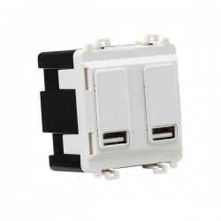 Knightsbridge Grid Matt White Dual USB Charger Module