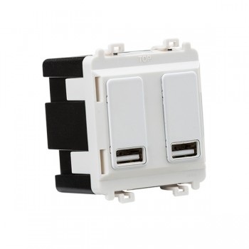 Knightsbridge Grid Matt White Dual USB Charger Module