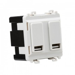 Knightsbridge Grid White Metal Clad Dual USB Charger Module