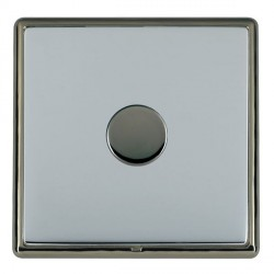 Hamilton Linea-Rondo CFX Black Nickel/Bright Steel Push On/Off Dimmer 1 Gang 2 way Inductive with Black N...