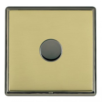 Hamilton Linea-Rondo CFX Black Nickel/Polished Brass Push On/Off Dimmer 1 Gang 2 way Inductive with Black Nickel Insert