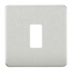 Knightsbridge Screwless Brushed Chrome 1 Gang Grid Faceplate