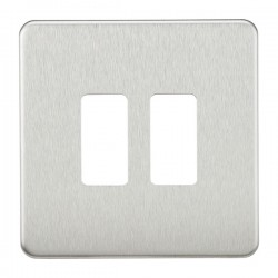 Knightsbridge Screwless Brushed Chrome 2 Gang Grid Faceplate