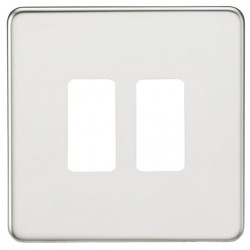 Knightsbridge Screwless Polished Chrome 2 Gang Grid Faceplate