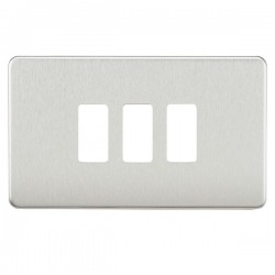 Knightsbridge Screwless Brushed Chrome 3 Gang Grid Faceplate