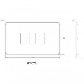 Knightsbridge Screwless Polished Chrome 3 Gang Grid Faceplate