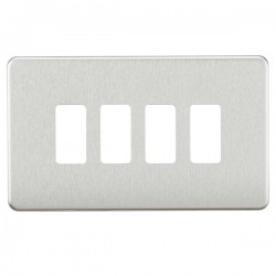 Knightsbridge Screwless Brushed Chrome 4 Gang Grid Faceplate