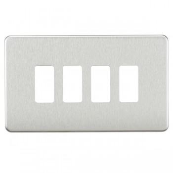 Knightsbridge Screwless Brushed Chrome 4 Gang Grid Faceplate